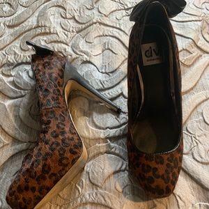 Dolce Vita Fur Calf Hair Leopard Platform Pumps
